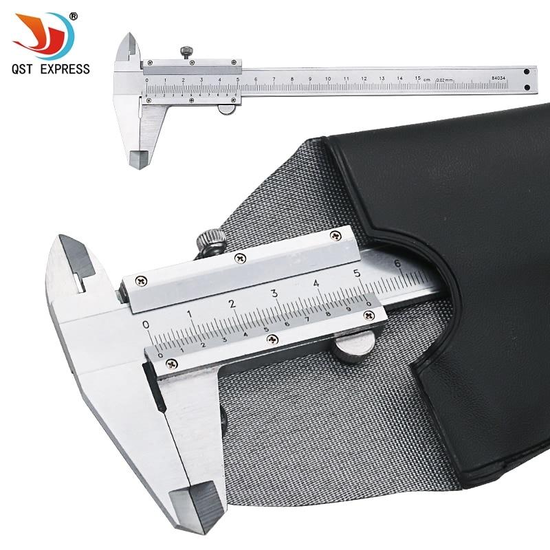 QSTEXPRESS Vernier con caja de venta al por menor de 6 0-150mm 0,02mm de Metal pinzas de micrómetro herramientas de medición QST8049