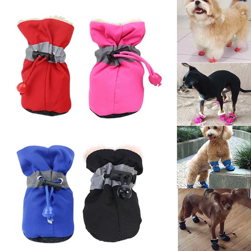 4Pcs/Set Winter Waterproof Pet Dog Shoes Anti-slip Rain Snow Boots Thick Warm Cat Dog Footwear Convenient Drawstring Puppy Shoes