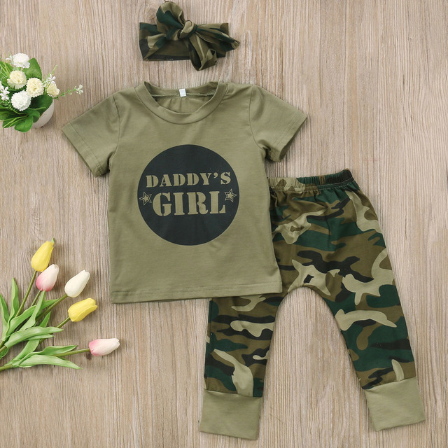 Camo Clothing Newborn Baby Boy Clothes Girls Set Camouflage Pants Army Green T-shirt Tops Pants Outfits Set Clothes 0-24M