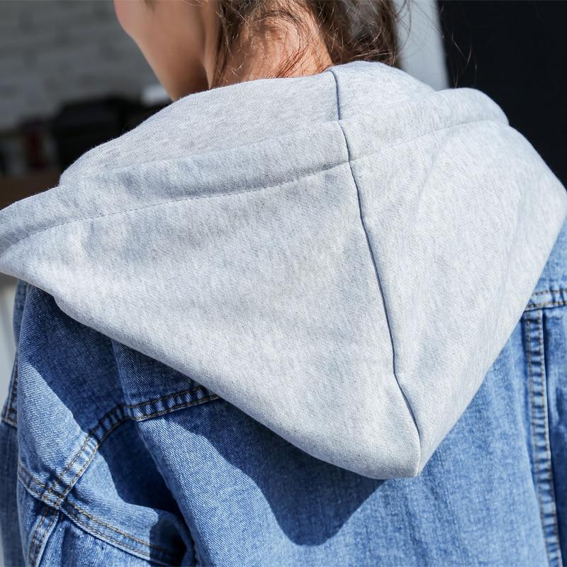 Hiver Blue Style Faux Jeans Denim Pour Dames Les Deux Filles Automne 2018 Femmes Décontracté Surdimensionné Veste Manteau Pièces wTvAIIq