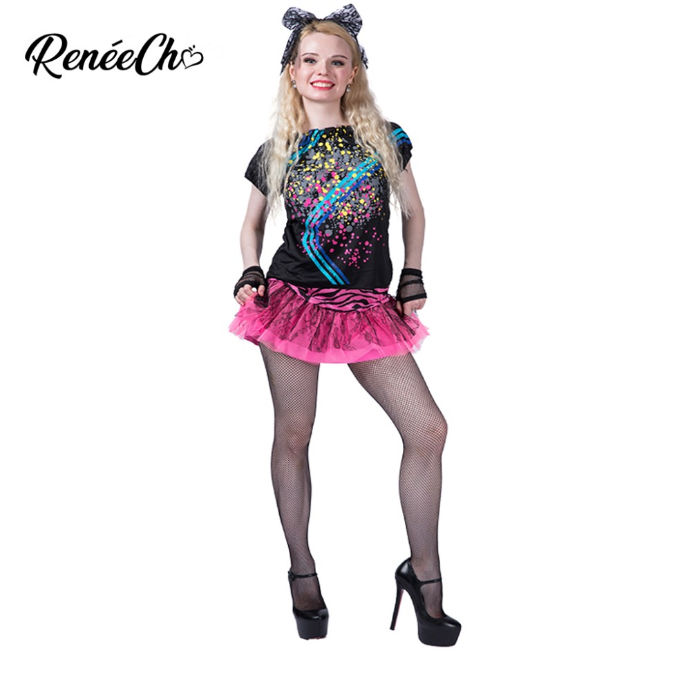 Halloween Costume For Women Adult 80s Pop Party Costume Fancy fantastic dance Dress adult cosplay costume for music party
