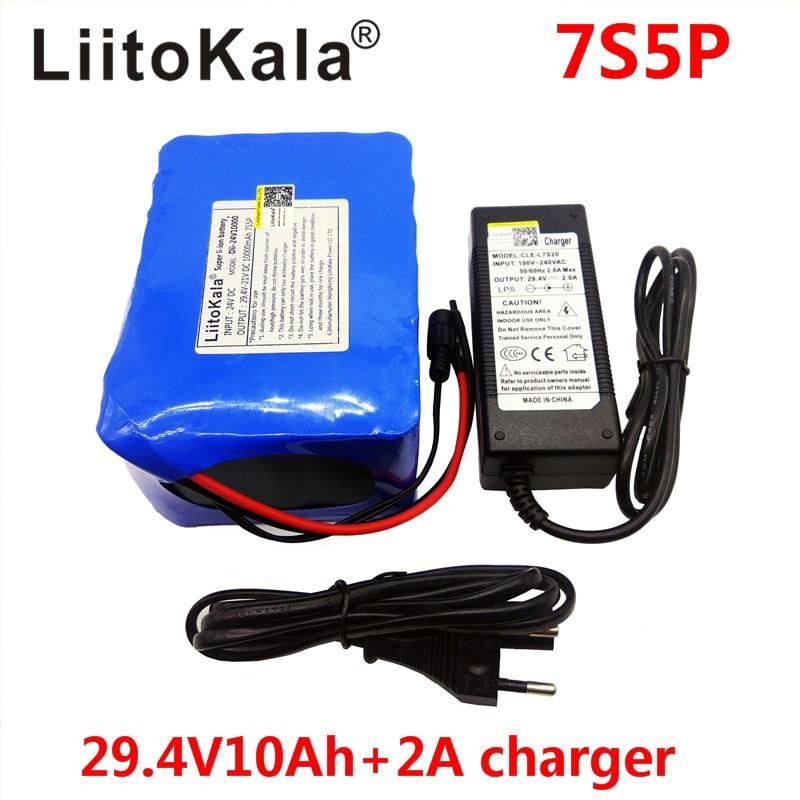 Liitokala 7s5p Neue victory 24 V (29,4 V) 10Ah lithium-batterie elektro-fahrrad 18650/24 VLi ion akku + 29.4V2A ladung