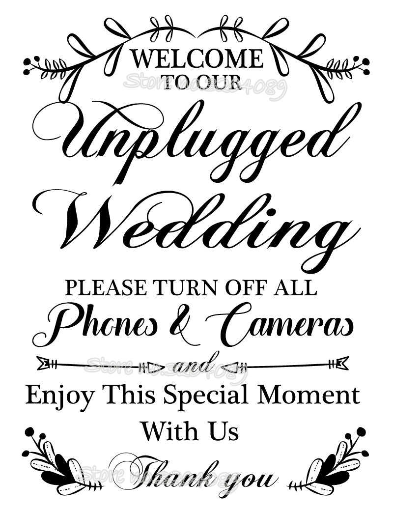 f2a9e74814d ... Welcome to our unplugged wedding ceremony Board sticker Unplugged No  phones wedding decal Wedding Reception Sign