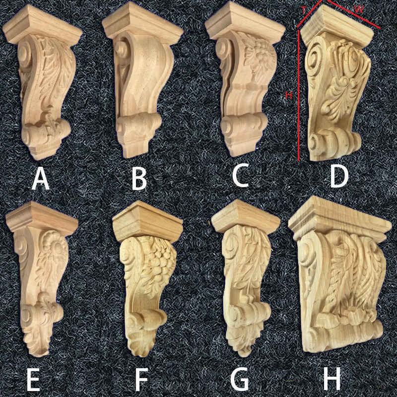 2Pcs/Lot Premintehdw Unpainted Rubberwood European Leaf Design Hand Carved Corbels Wood Corbel Scroll Acanthus