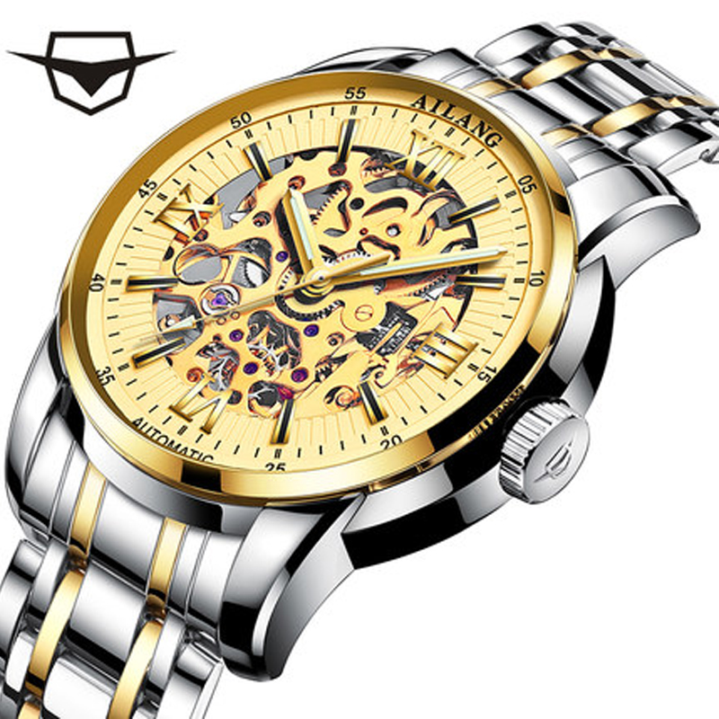 2017 New AILANG Men Male Winner Brand Mechanical Watch Steel Automatic Stylish Classic Skeleton Steampunk Wristwatch Xmas Gift цена