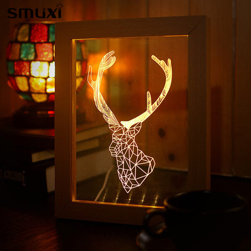 Mrosaa Night Light Wooden Frame 3D Animal Deer Head Shape USB Power Festival Holiday Party Lamp Home Decor Novelty Lighting