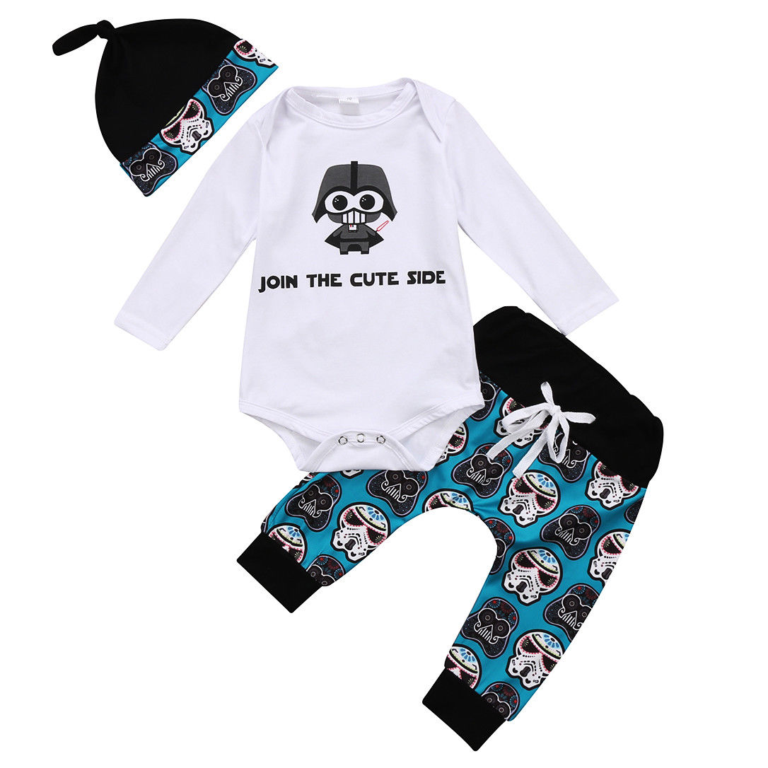 3PCS Kids Toddler Infant Baby Boy Girl Letter Romper+Print Pants+Cap Outfits Set