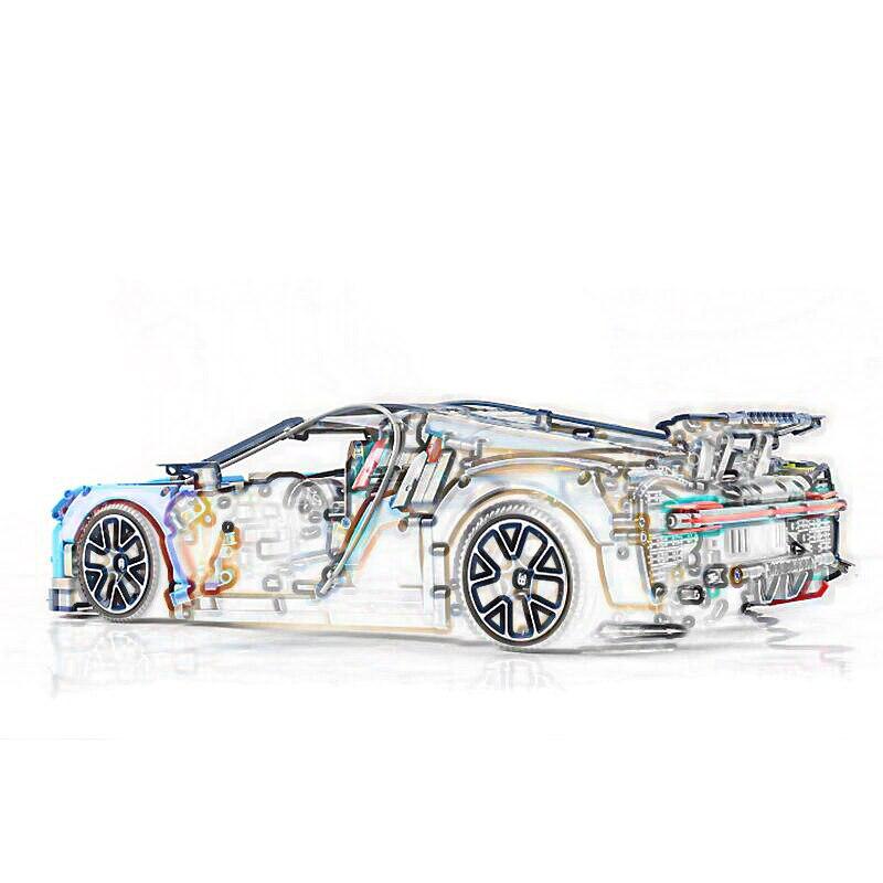 20086 LEGOING Technic série 4031 pièces bleu et rouge Supercar voiture modèle blocs de construction anniversaire cadeau jouets pour enfants 42083 - 5