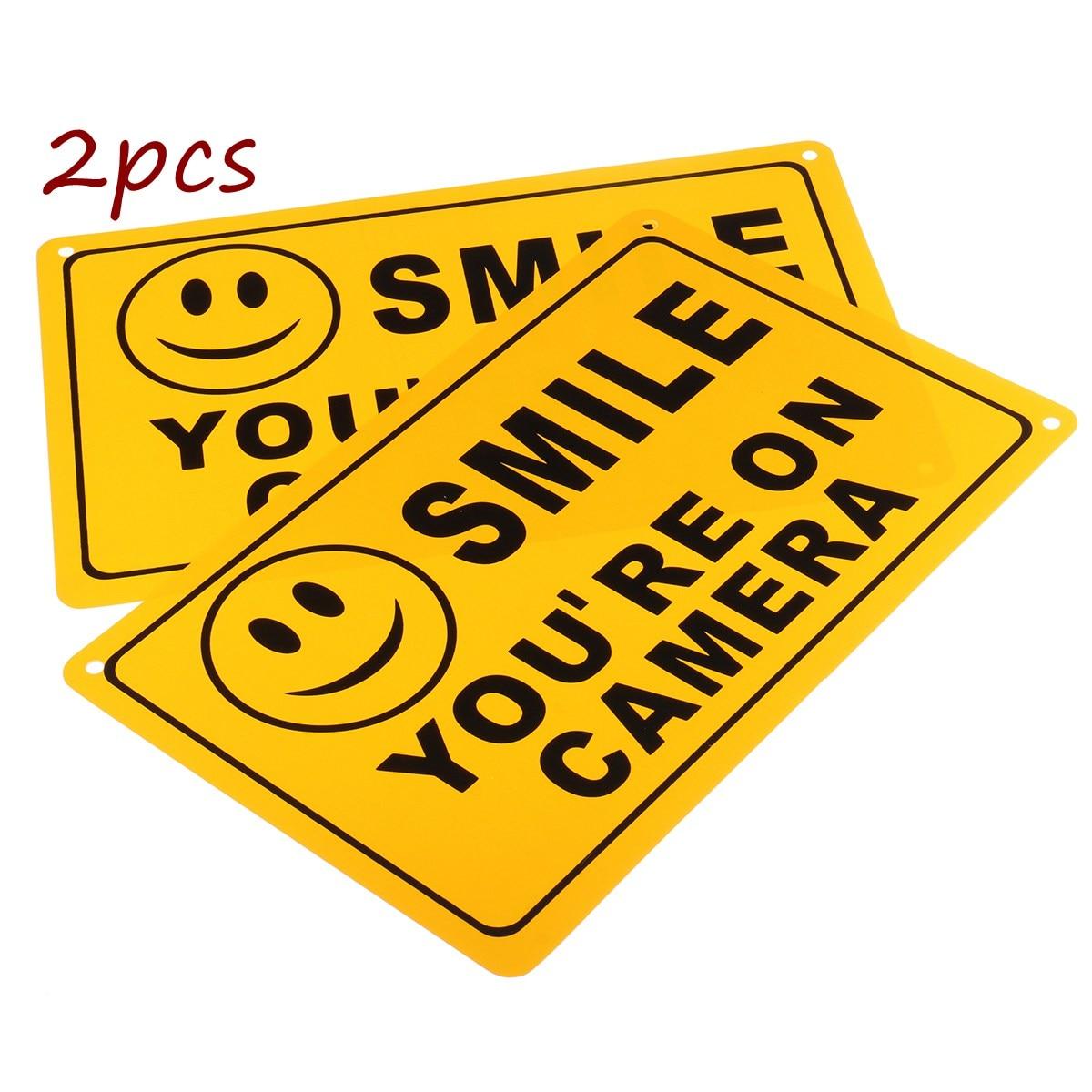 2 шт. Улыбка Вы на камеру Бизнес Предупреждение безопасности Желтый Знак 11 х 7/28x18 см