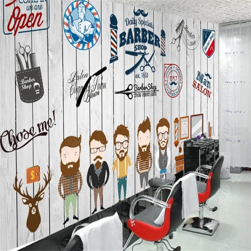 Us 8 85 44 Off Vintage Wood Texture Hair Shop Background Wall Professional Production Mural Factory Wholesale Wallpaper Mural Poster Photo Wall In