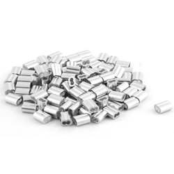 Uxcell Алюминий наконечники рукава фитинги зажимы 9.5x5 мм 100 шт. для 2 мм Диаметр Стальная проволока из бечёвки