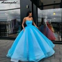 Sweetheart Organza Sky Blue Ball Gown Long Evening Dress Party Elegant Vestido De Festa Fast Shipping Evening Prom Gowns