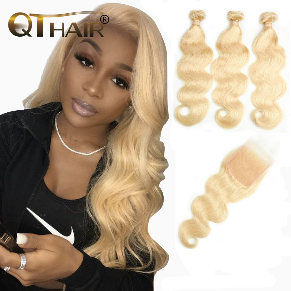 QT <font><b>613</b></font> Blond <font><b>Bundles</b></font> With Closure Malaysian <font><b>Body</b></font> <font><b>Wave</b></font> With Closure Remy Blonde Human <font><b>Hair</b></font> Lace Closure With <font><b>Bundles</b></font> image