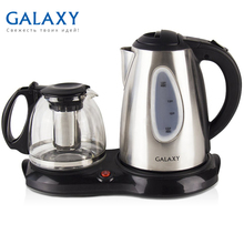 Чайник электрический Galaxy GL0403 (Мощность 2200 Вт, металлический чайник 1.8 л, стеклянный заварочный чайник 1 л)