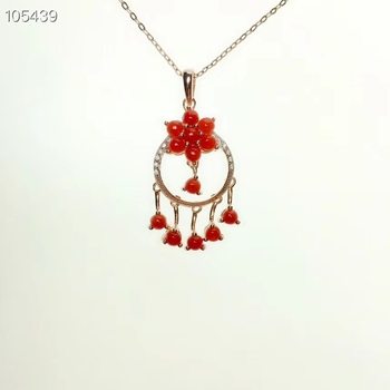 KJJEAXCMY boutique jewelry 925 sterling silver natural red coral female pendant necklace support test 3