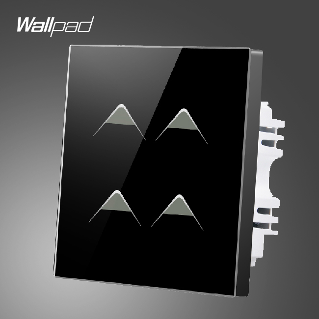 Hotel Wallpad UK 110V-250V 4 Gang 1 Way Luxury Black Crystal Glass Home Touch Screen Wall Light Switch, Free Shipping wallpad smart home switch 110 250v uk 1 gang 2 way pink tempered glass led indicator wall touch switch free shipping