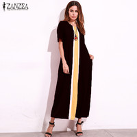 2017 Plus Size ZANZEA Vintage Womens O Neck Short Sleeve Striped Patchwork Summer Casual Party Maxi