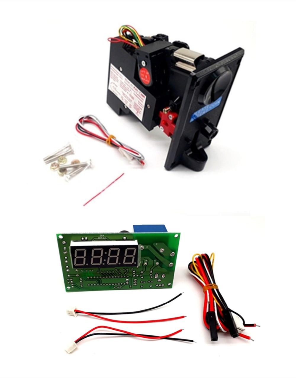 Plastik pelat depan KAI-738 CPU koin dioperasikan sistem kontrol waktu koin akseptor selektor dengan JY-15A 4 digit papan waktu
