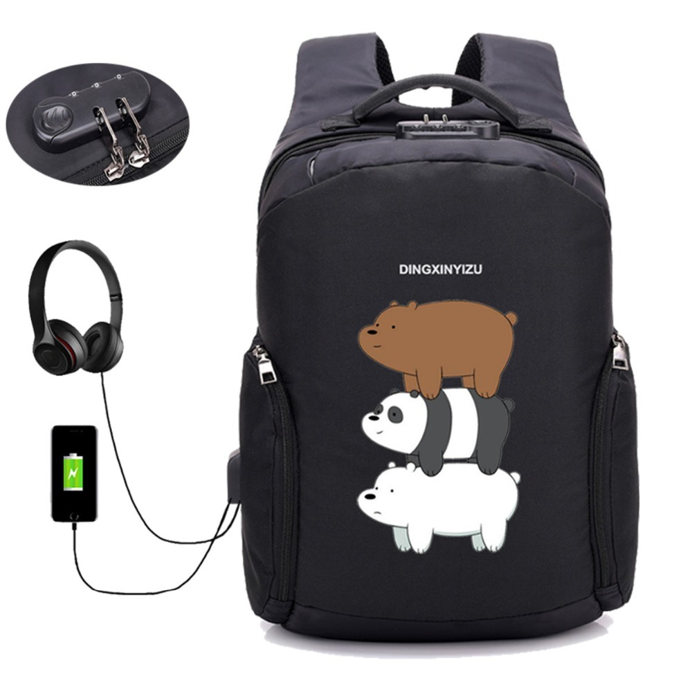 anime We Bare Bears backpack Anti Theft Usb Charging Laptop backpack boys girl student book Shoulder