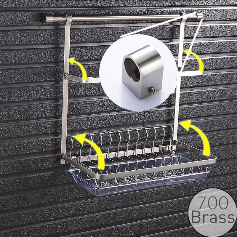 Gourmet Kitchen Wall Mount Rail and Stainless Steel Rack, Organizer for Dish Plate Bowl Cup Pot Lid, Storage Drying Holder multi functions stainless steel free standing kitchen knife dish rack chrome finished