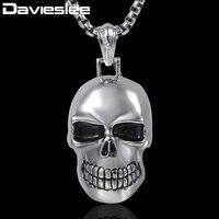 Davieslee Mens Colar Pingente Gothic Punk Cor Prata Caveira Charme Aço Inoxidável 316L Cadeia DHP154