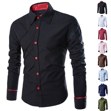 Men Casual Business Buttoned Long Sleeve Grid Slim Fit Stylish Dress Shirt Top Navy Burgun