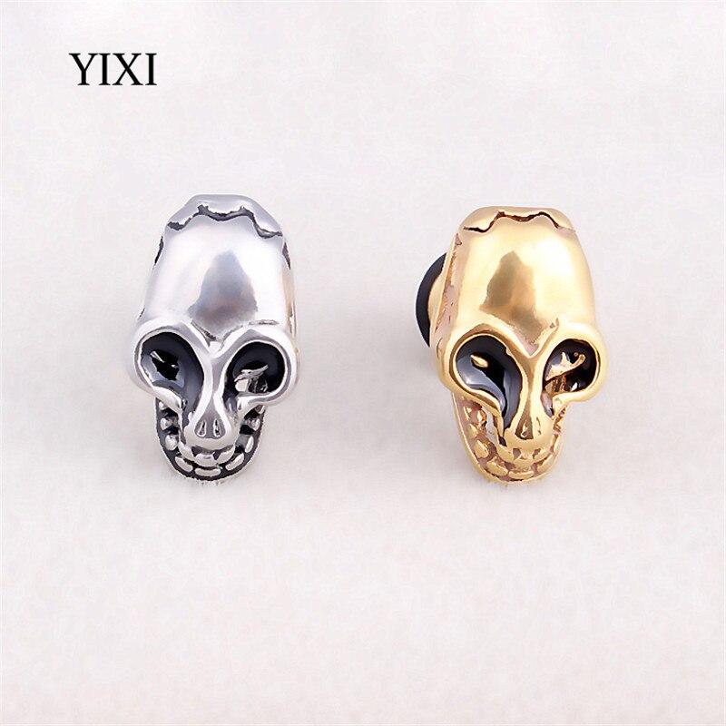 YIXI 2 Pcs Fashion Earrings Stainless Steel Skull Earrings For Men Women Piercings Punk Skeleton Studs Earring Body Jewelry