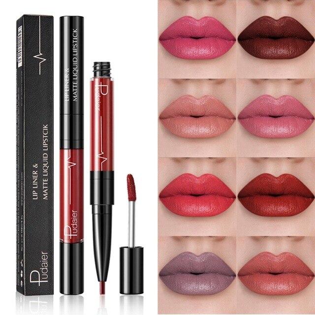 Pudaier más nuevo diseño 16 Color 2 en 1 trazador de líneas del labio lápiz brillo de labios belleza maquillaje duradero Color Nude cosméticos trazador de líneas del labio pluma TSLM2