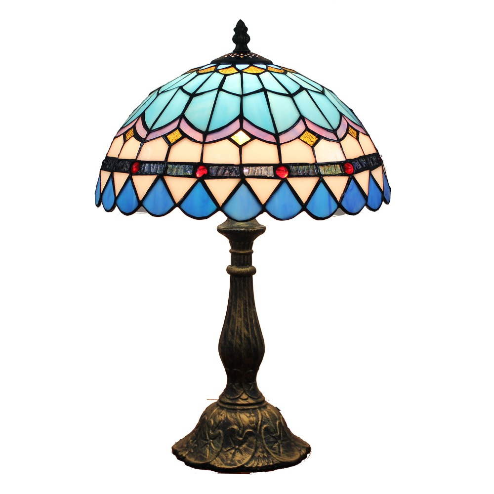 Mediterranean Style tiffany table lamp beaded stained glass desk lamp bedroom lamp novelty desk lamp gifts