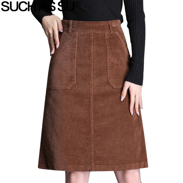 ba9f7b3c30d25a New 2018 Casual Corduroy Skirts Womens Fall Winter Black Brown Gray Knee- Length High Waist Skirt S-3XL Ladies Slim A Line Skirt