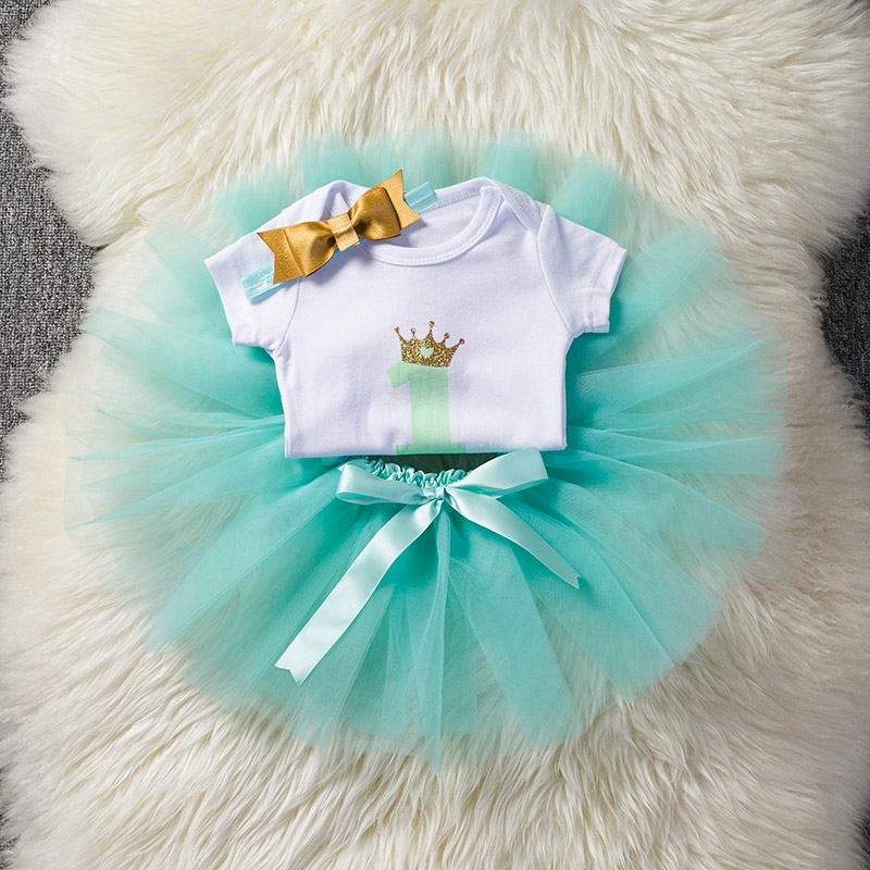 Summer New Baby Clothing One Year Old Birthday Party Dress Rompers Mini Skirt and Bow Headband White Romper + Tulle Skirt ...