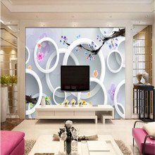 Customized modern 3D stereo circle plum TV background wall manufacturers wholesale wallpaper murals custom photo