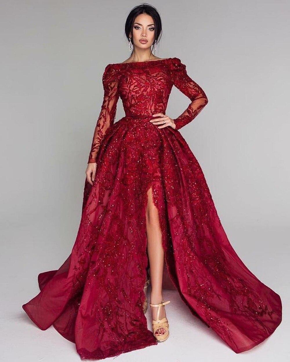 Robes de soirée longues bordeaux épaule dénudée manches longues longueur de plancher Split robes de soirée 2019 robes de bal formelles