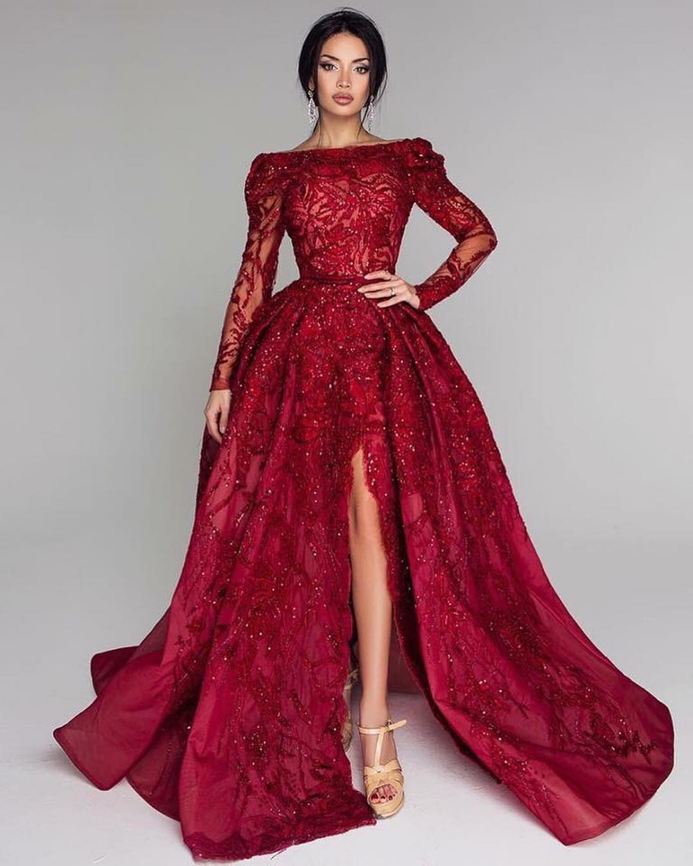 Vestidos Burgundy Long   Evening     Dress   Off The Shoulder Long Sleeve Split Floor Length   Evening     Dresses   2019 Formal Prom Gowns