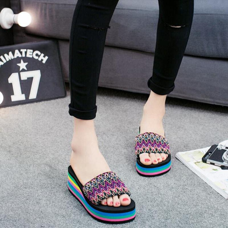 Summer Sandals Women Flip-Flops Beach-Shoes National-Style Peep-Toe Fashion Outdoor