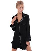 Sexy Women Nightwear Mini Nightgowns Autumn Sleepwear Cotton Sexy V Neck Casual Lingerie Dress Sleepwear Sleepshirts