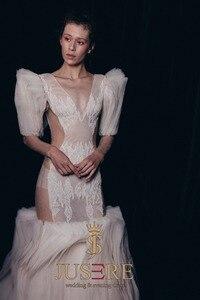 Image 3 - JUSERE 2019 SS FASHION SHOW Sexy Illusion marfil sirena vestido de novia cuello pico manga larga Apliques de encaje Pleat vestidos de novia