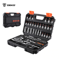 DEKOPRO TZ53 Household Tool Set Auto Repair Mixed Tool Combination Package Hand Tool Kit with Plastic Toolbox Storage Case 53Pcs screw extractor