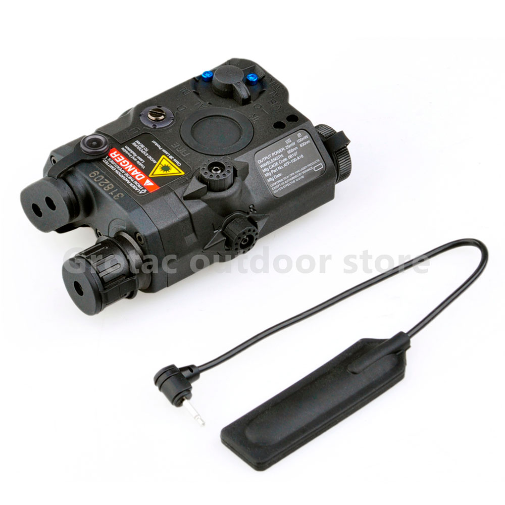 Tactical flashlight LA-PEQ15 red dot laser battery box with tail switch for 20mm rails black DE