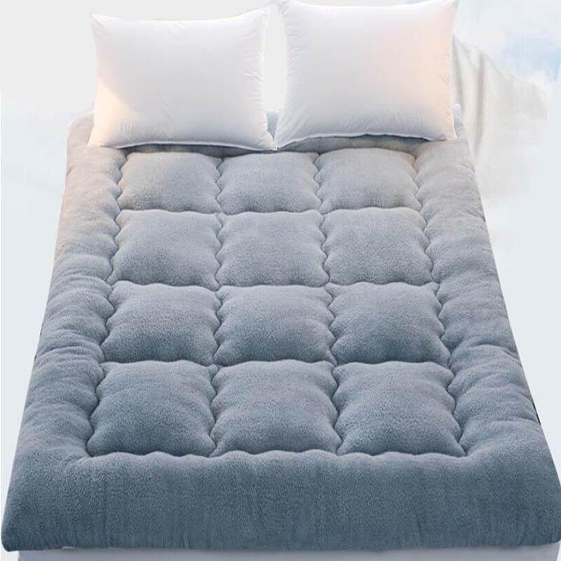 Foldable Thicken Berber Fleece Winter Bed Sleeping Mattress Pad Baby Playin Rug Tatami Carpet Student Sleeper Bed Cushion Mats