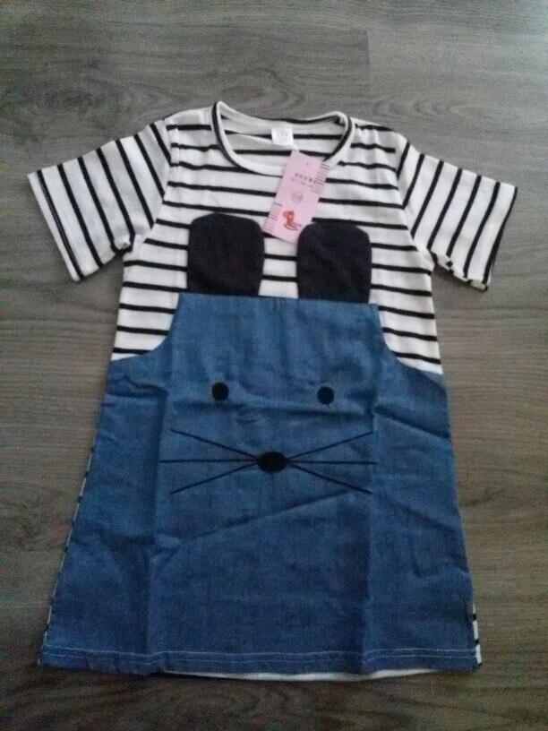 New 2018 Summer Striped Girls Dress Lovely Mouse Design Denim Dress for Girls Children Clothing Short Sleeve Kids Clothes