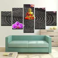Tela HD Stampe Foto di Arte Della Parete Modulare Complementi Arredo Casa 5 Pezzi Buddha di Arte Dipinti di Fiori Poster Quadro Arredamento Per La Camera Da Letto