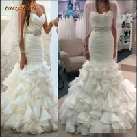 Ruffles Mermaid Wedding Dresses Long Tulle Crystals Sashes Wedding Gown Wedding Bridal Bride Dresses Weddingdress On Sale 2018