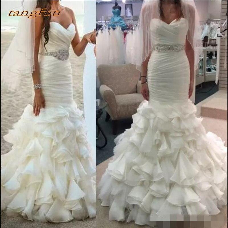 Volants sirène robes de mariée Long Tulle cristaux ceintures robe de mariée de mariage mariée robes de mariée Weddingdress en vente 2018