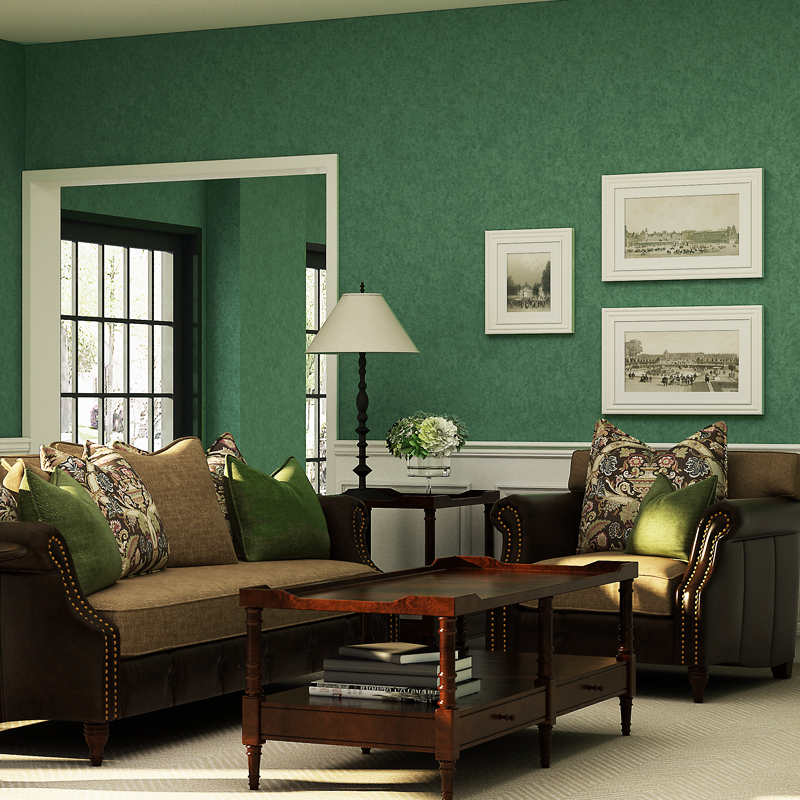colorful vintage living room apartment wall art | American Vintage Dark Green Wallpaper Retro Living Room ...