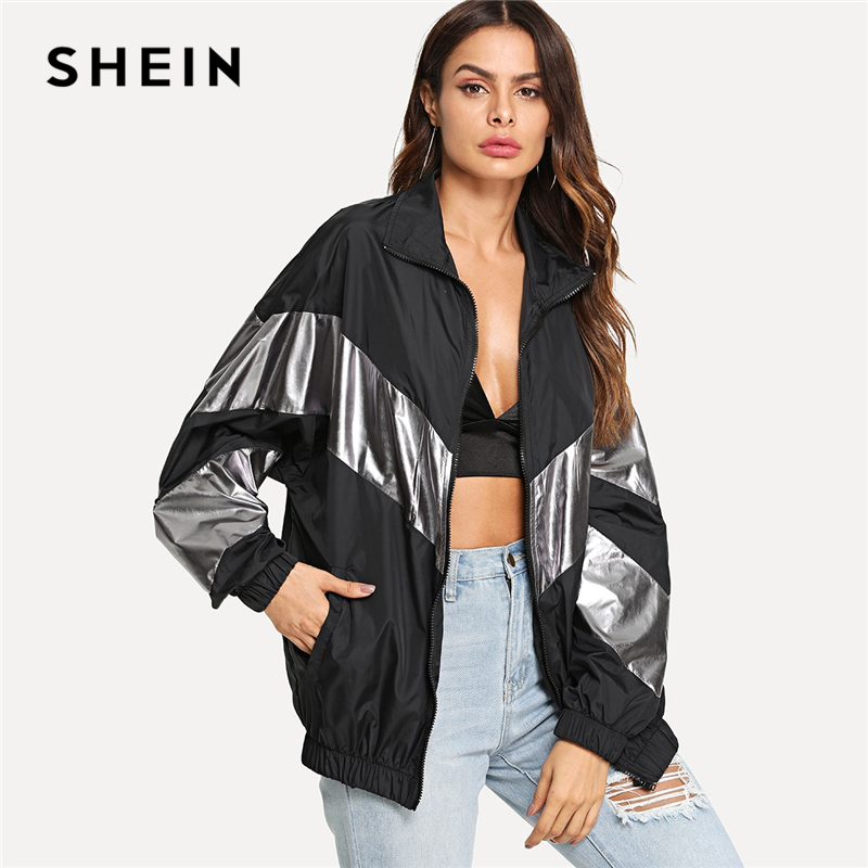SHEIN Multicolor Panel metálico insertar gota hombro chaqueta mujer Colorblock cremallera bolsillo moderno mujer otoño chaquetas