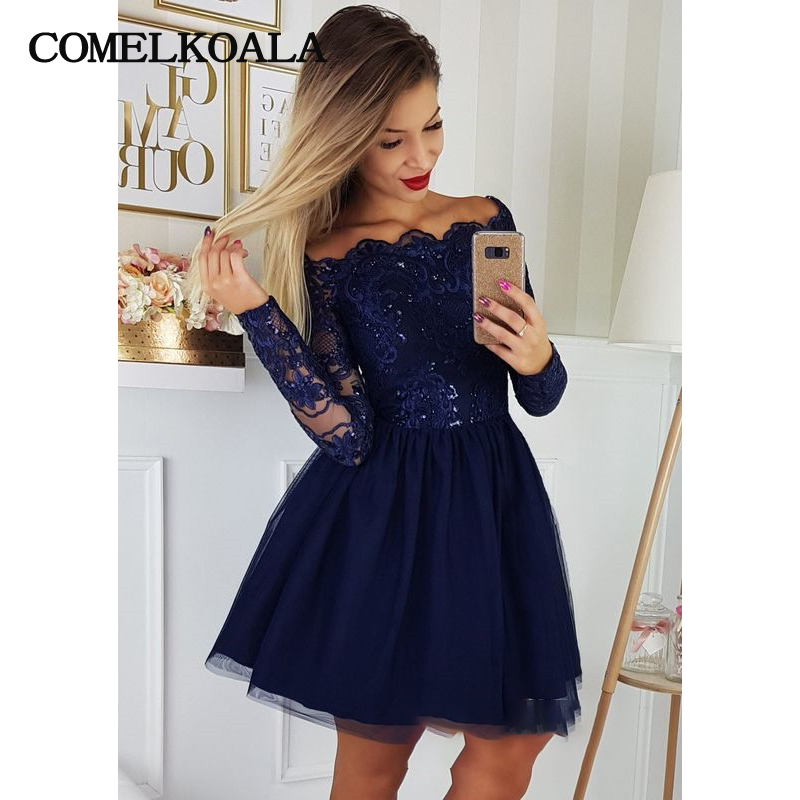 Navy Blue Short Homecoming Dress