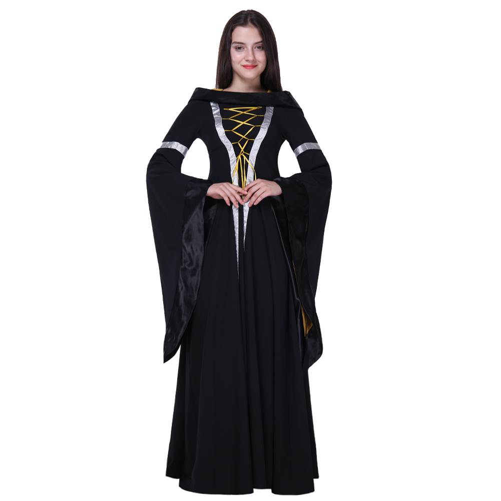 Medieval Maxi Gown Goth Halloween Women Autumn Lace-Up O-Neck Black Dress Retro Party Prom Coseplay Witch Gothic Dresses