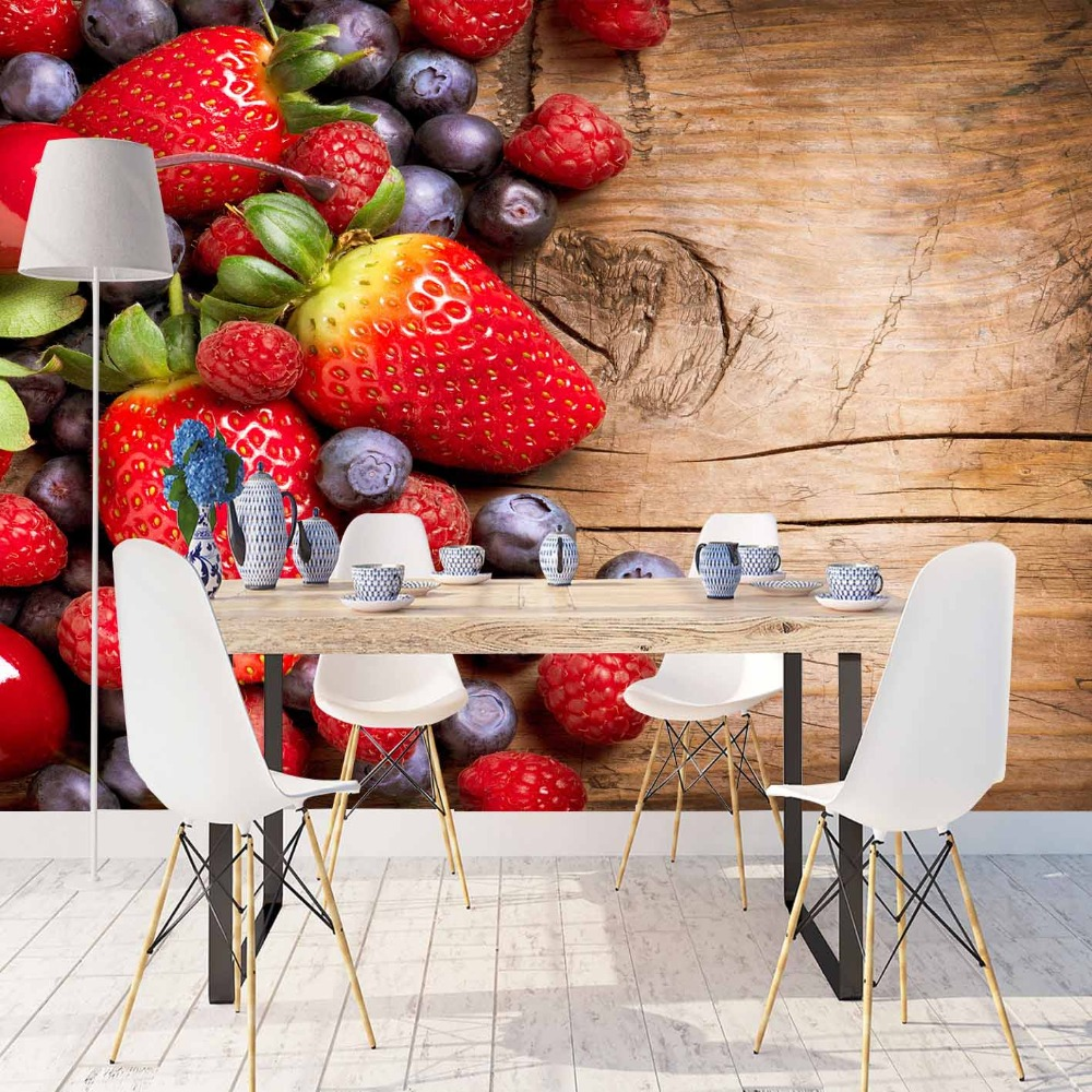 Else Brown Wood Red Strawberry Black Plum Fruits 3d Print Photo Cleanable Fabric Mural Home Decor Kitchen Background Wallpaper