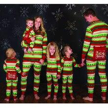 Correspondência da família Pijama Natal Definir Mulheres Homens Crianças Verde Pijamas roupa Do Bebê 2017 Novo Venda Quente de Natal Da Família Combinar Roupas